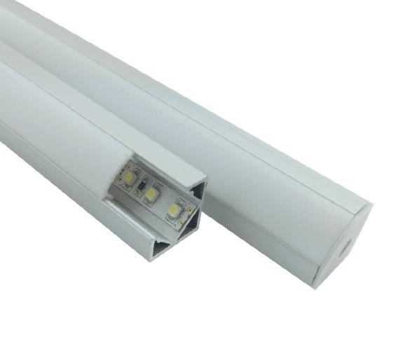 Aluminiumsprofil 1M for hjørne montering for LED striper opptil 12MM Nordic Products