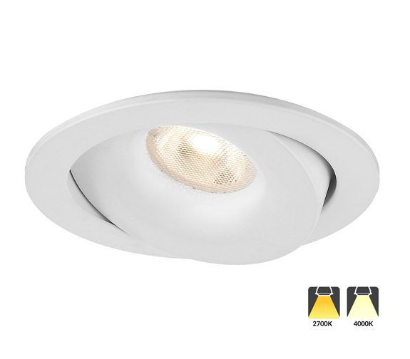 Luna Dual Switch Isolasjon Downlight 10W Matt Hvit IP54 2700K/4000K Nordic Products