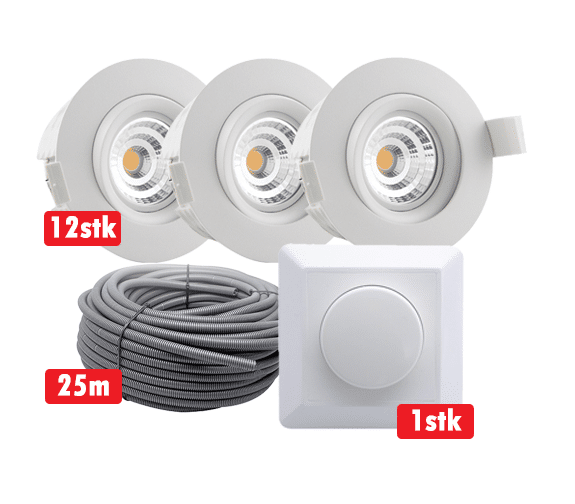 Komplett Optimal Isolasjon 9W WarmDim LED Downlight Matt Hvit IP44 12-pk