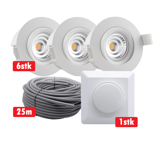 Komplett Optimal Isolasjon 9W WarmDim LED Downlight Matt Hvit IP44 6-pk