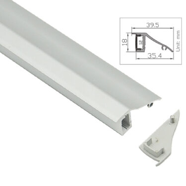 Aluprofil for utenpåliggende montering for LED striper opptil 12mm ALU