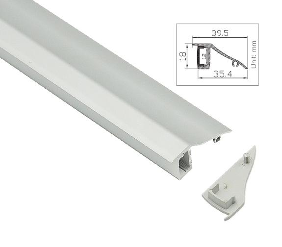 Aluprofil for utenpåliggende montering for LED striper opptil 12mm ALU