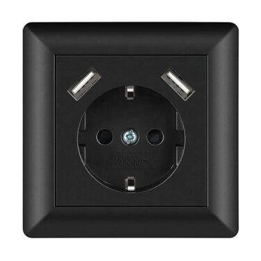 Innfelt Stikkontakt m/Jord + Dobbel USB 2,8A Sort