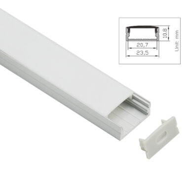 Aluprofil for utenpåliggende montering for LED Striper opptil 20mm ALU