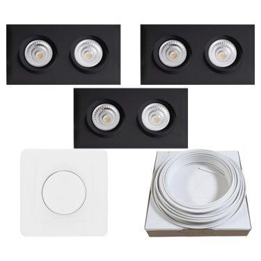 Dobbel LED Downlight Isolasjon WarmDim 360 tilt