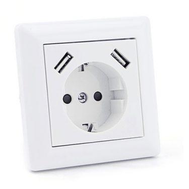 INNFELT STIKKONTAKT M/JORD + DOBBEL USB 2,8A HVIT