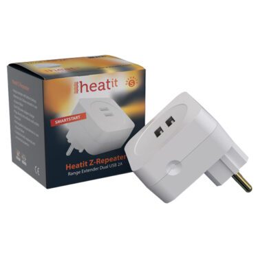 Heatit Z-Repeater dobbel USB 2A