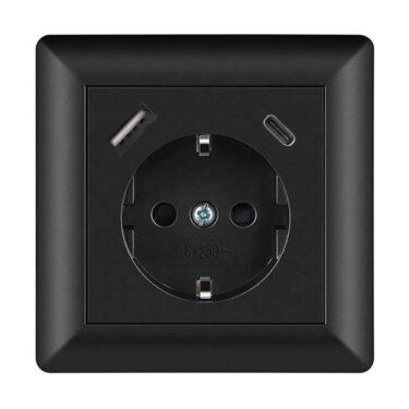 Innfelt Stikkontakt m/Jord + USB Standard + USB C 3,4A Sort